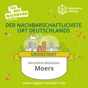 """Moers wurde 2019 als """"Nachbarschaftlichster Ort Deutschlands"""" ausgezeichnet."""