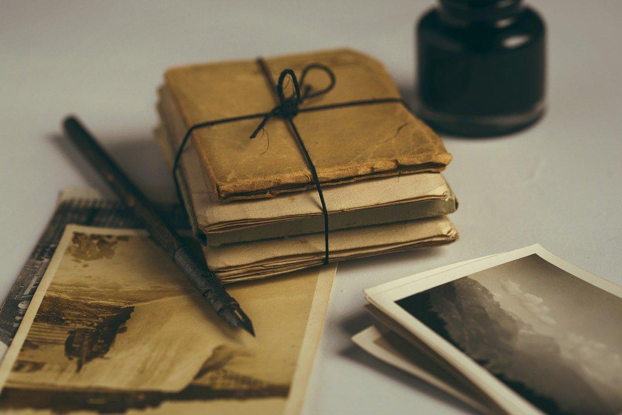 Alte Briefe, Federkiel, Alte Fotos