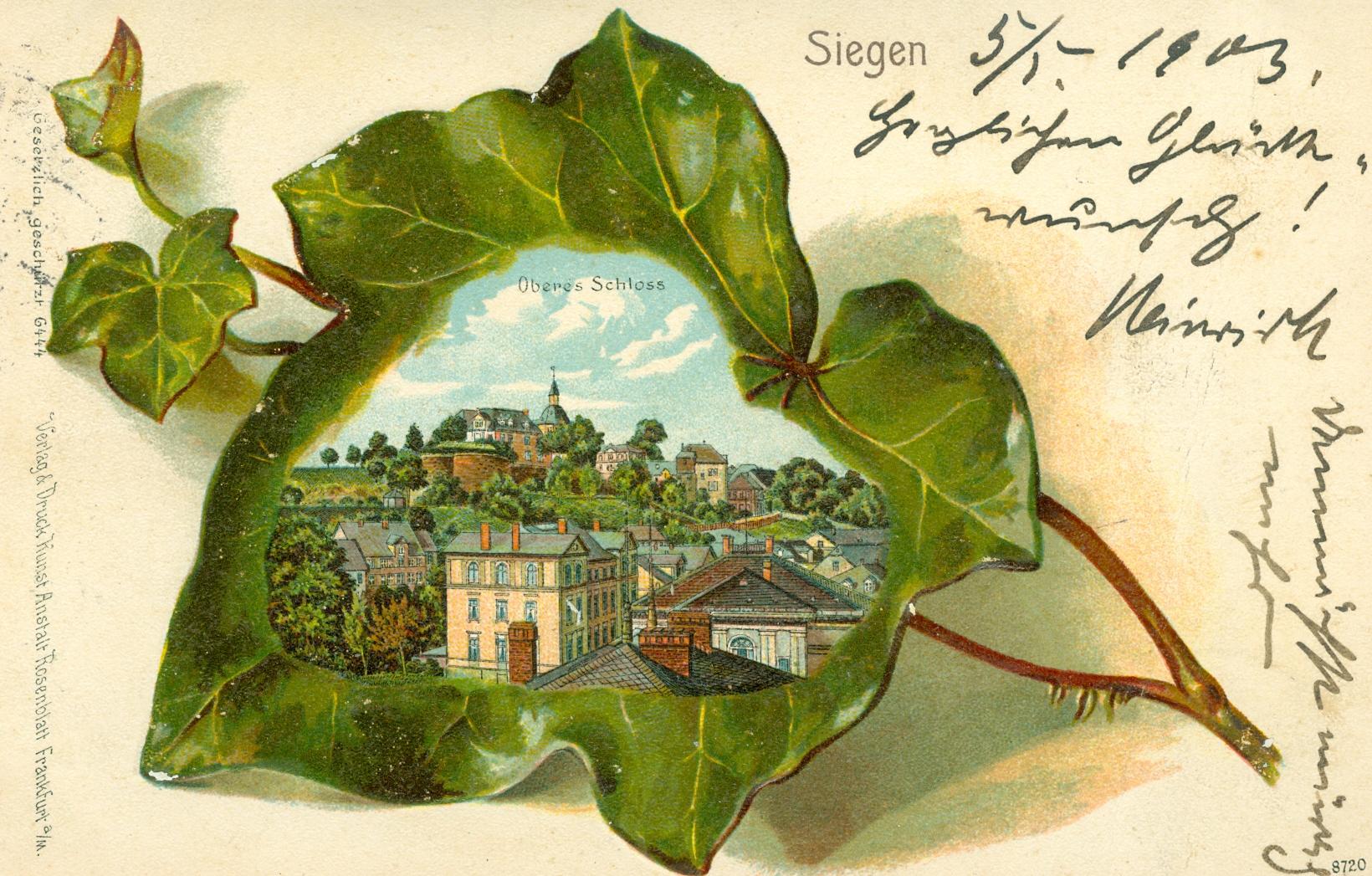 Alte Postkarte. Motiv: Oberes Schloss in Siegen