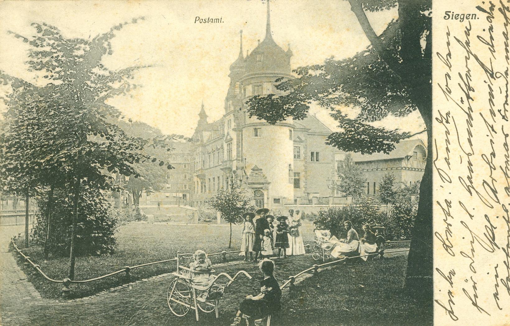 Alte Postkarte. Motiv: Altes Telegraphenamt in Siegen