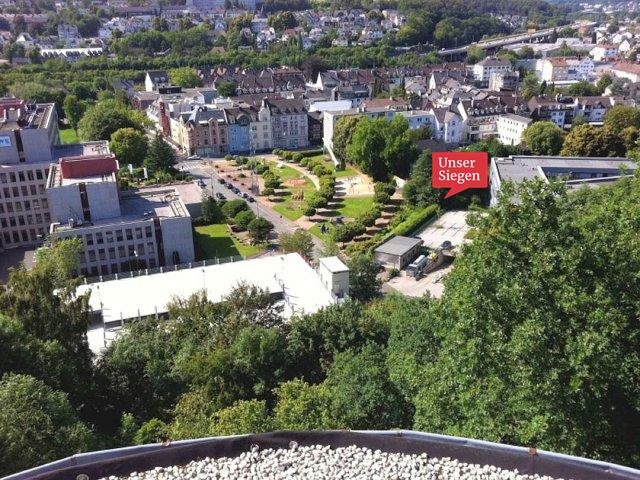 Panoramablick von der ersten Etage des Modulbüros über Friedrichstraße, HTS und Wellersberg