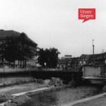 Blick auf den Bau der Siegplatte zwischen 1967-69. Schwarz-weiß-Fotografie. Mit freundlicher Genehmigung von Elisabeth Etzroft (Siegen), Stadtarchiv Siegen, Bestand 704, Fo 4041.