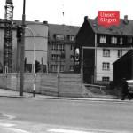 Beim Bau der Siegplatte zwischen 1967-69. Schwarz-weiß-Fotografie. Mit freundlicher Genehmigung von Elisabeth Etzroft (Siegen), Stadtarchiv Siegen, Bestand 704, Fo 4059.