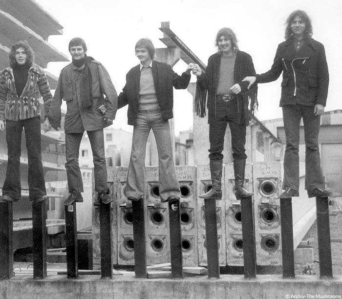 The Mushrooms - schwarz-weiß-Foto einer Band aus den 1950ern. Fünf langhaarige Männer stehen auf Metallstangen einer Baustelle. Mit freundlicher Genehmigung von Wolfgang Thomas.