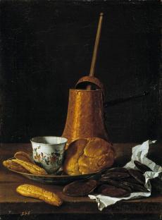 Luis Egidio de Meléndez. Bodegón con servicio de chocolate y bollos. MUSEO DEL PRADO