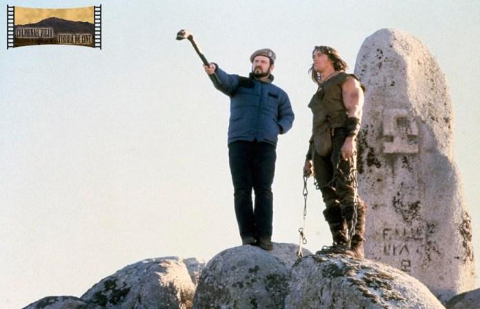 <em>Arnold Schwarzenegger y John Milius rodando Cónan, el bárbaro en Colmenar Viejo. Fuente: http://www.colmenarviejotierradecine.es/galeria-fotografica/</em>