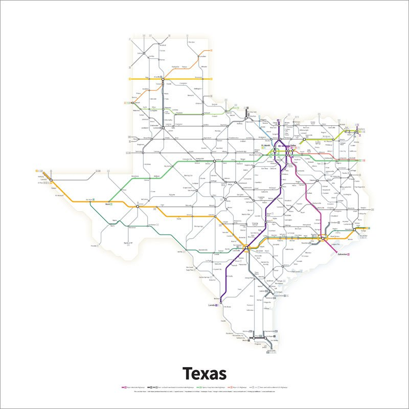 Every US Highway Drawn Like a Transit Map (3)