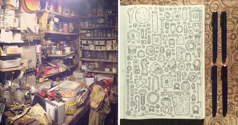 Artist Begins 5 Year Project to Draw the 100,000+ Items in Late Grandfather's Tool ShedArtist Begins 5 Year Project to Draw the 100,000+ Items in Late Grandfather's Tool Shed