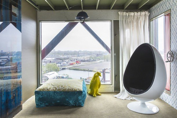 Dockside Crane Has Turned Into A Luxury Hotel In Amsterdam