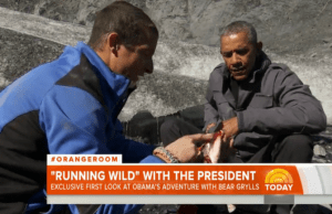 President Obama is Running Wild With Bear Grylls Eating a Salmon Carcass