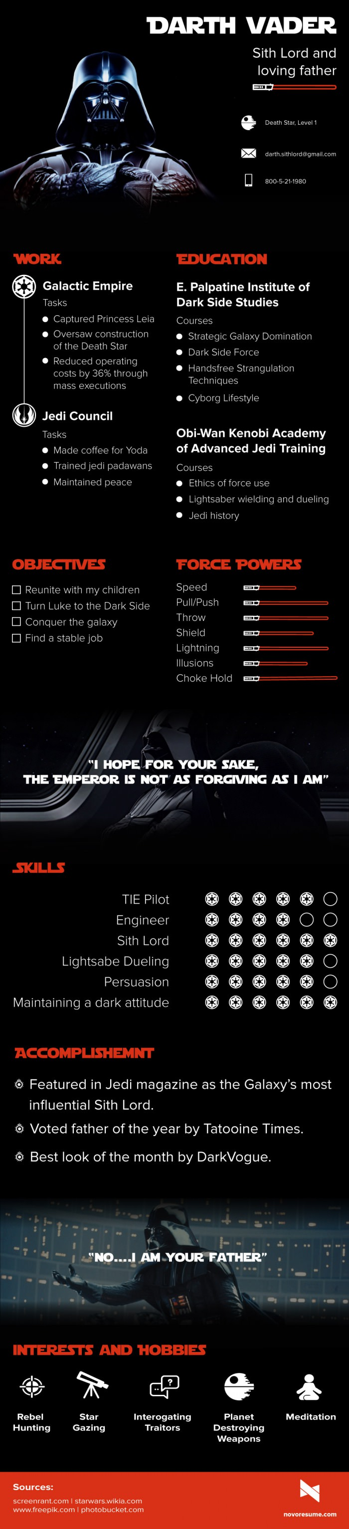 Darth Vader is Applying For a Job, Check Out His CV