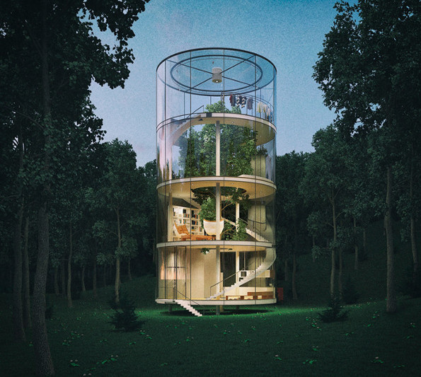 Cylindrical Glass Tree House