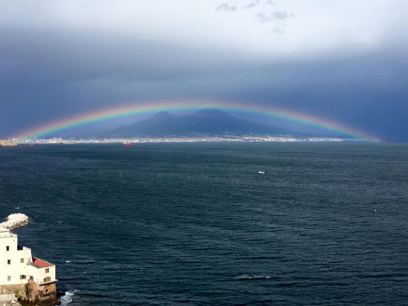Perfect Rainbow Over Mount Vesuvius