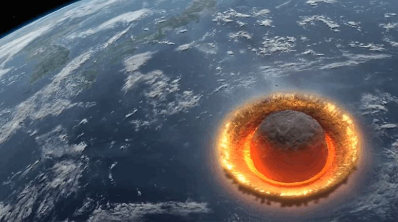 Computer Generated Asteroid Hitting Earth