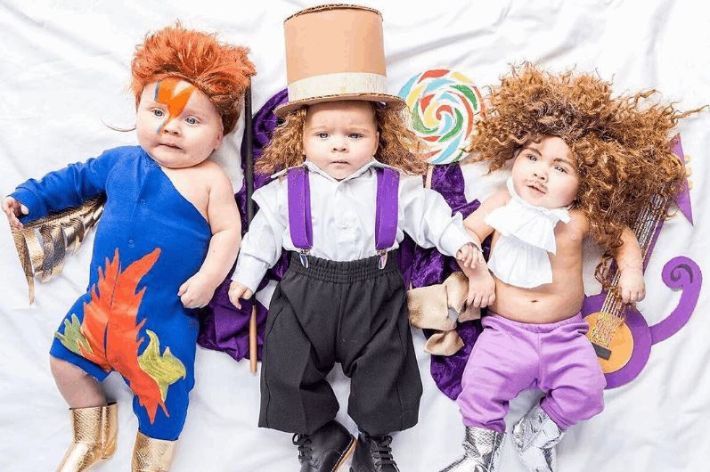 Triplets Dressed in Cute Costumes Based on Celebrities and Movie Characters