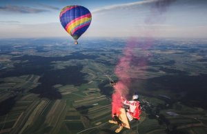 Enormous Swing Suspended Between Two Hot Air Balloons For Skydivers