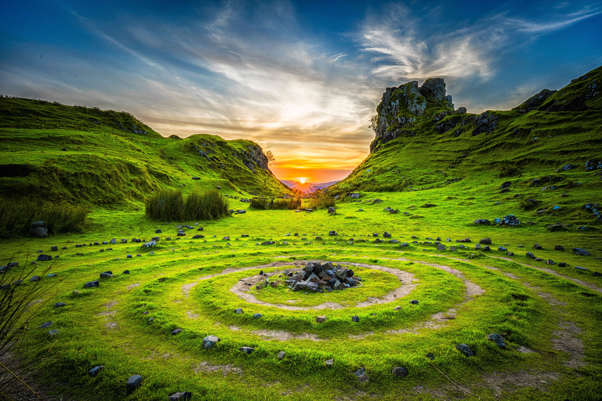 Enjoy a Gorgeous Sunset at Fairy Glen, Isle of Skye