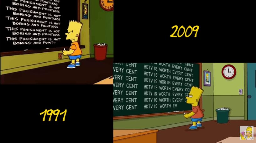 The Simpsons Side-by-Side Comparison Of Intros From 1991 and 2009
