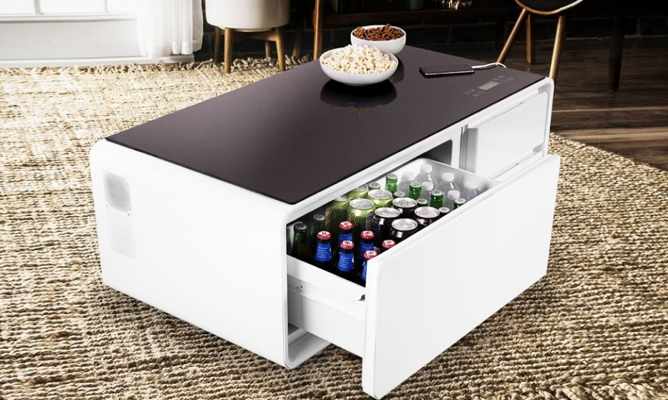 Coffee Table Equipped With A Mini Fridge