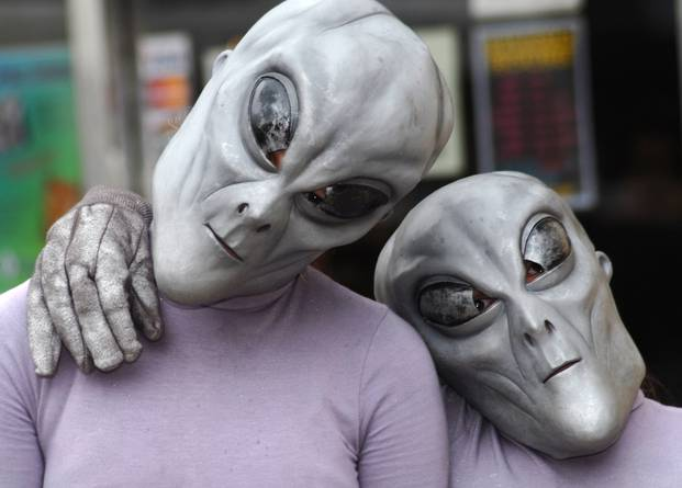 Attendees at a UFO Festival in Roswell, New Mexico