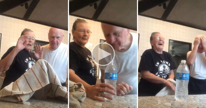 Super Cute Grandma Pulls the Water Bottle Coin Prank on Her Husband