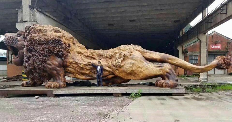 11 Photos of Awesome Wooden Lion Carved from a Single Tree