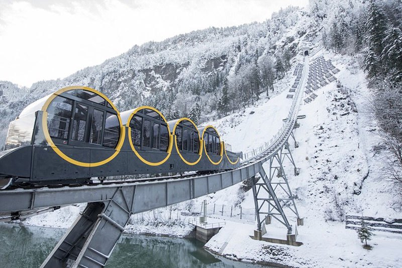 The World's Steepest Cliff Railway In Swiss Alps Just Opened For Business