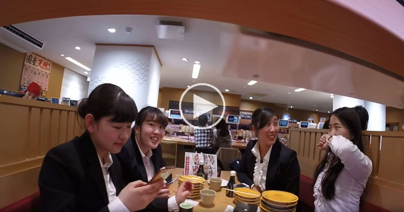 GoPro on Sushi Conveyor Belt Shows Full Range of Reactions