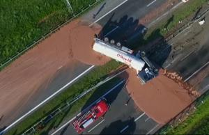 Truck Spilled Chocolate On The Highway In Poland