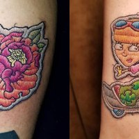 Tattoos Look Like Embroidered Patches On The Skin