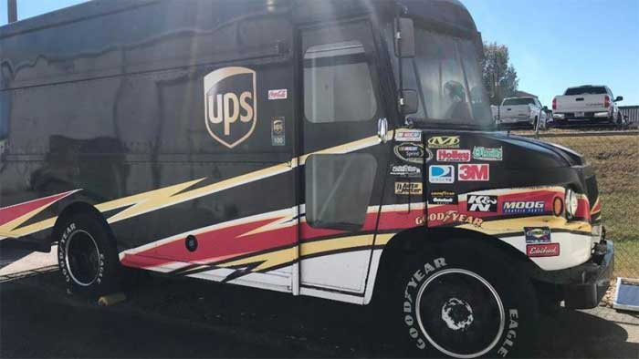 UPS Truck Packing a Toyota Racing V8