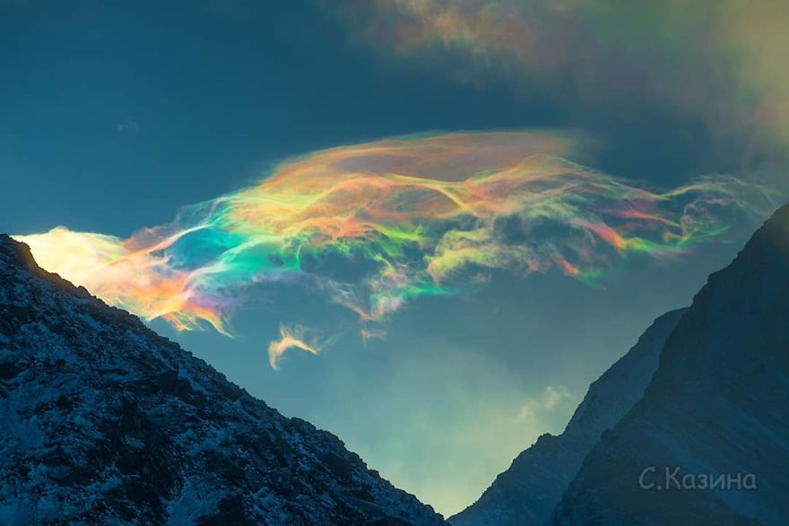 Iridescent Clouds Over Siberia