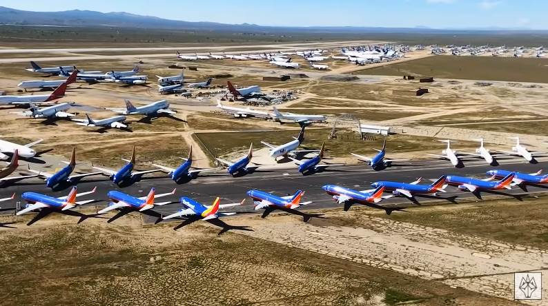 Parked Airplanes During the Pandemic
