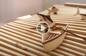 Wooden Kinetic Wave Sculpture