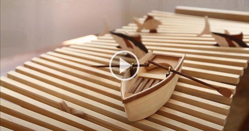 Wooden Kinetic Wave Sculpture