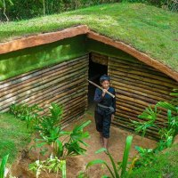 Woman Builds Underground House with Normal Tools and Bare Hands