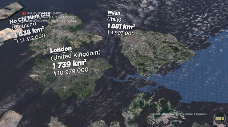Size Comparison of Cities Worldwide