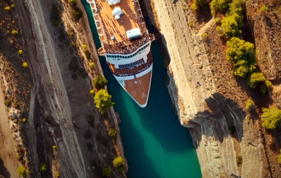 Ship Narrowly Passing Through the Worlds Deepest Canal