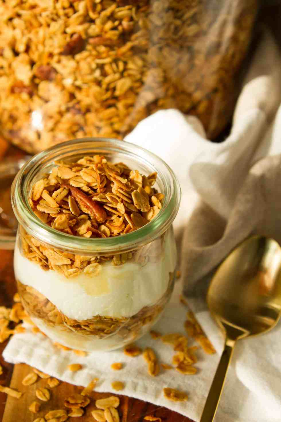 Homemade Granola Recipe -- this amazingly easy granola recipe boasts just 5 simple ingredients, each carefully chosen for maximum flavor and texture. So buttery, crunchy and utterly delicious, you won't be able to keep your hands off of it! | via @unsophisticook on unsophisticook.com