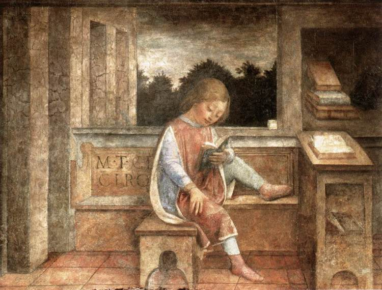 Le Jeune Cicéron lisant, fresque de Vincenzo Foppa de Brescia, datée vers 1464.jpg