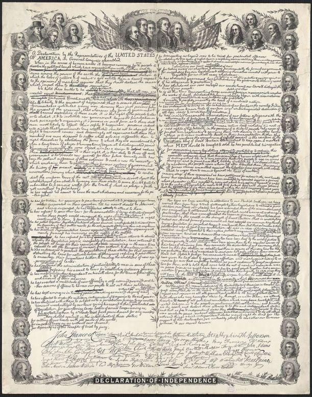 Déclaration d'Indépendance des Etats-Unis(1)