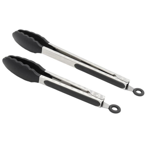 2 Pack Black Kitchen Tongs