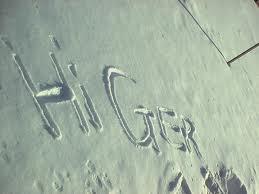 "Snow Message ""Hi Ger"""