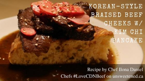 Chef Ilona Daniel's orean-style braised Beef Cheeks with Kim Chi Pancake