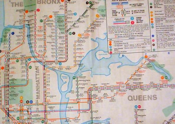 Fun Maps  Rikers Island Keeps Disappearing and Reappearing  on MTA     1968 NYC Subway MTA Map