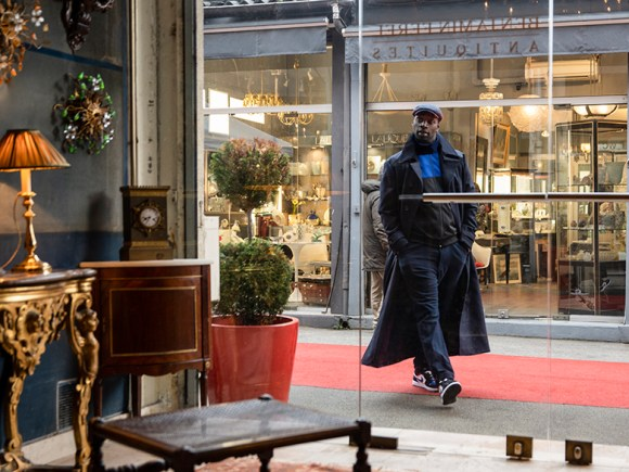 Omar Sy in Les Puces in Paris, filming location for Lupin