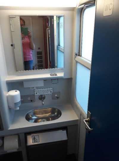 Innenansicht Flixtrain Nachtzug Toiletten sauberkeit