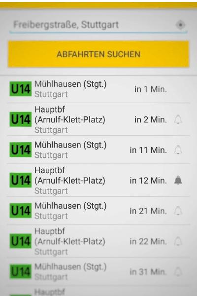 Screenshot fahrplansuskunf Stuttgart ssb app