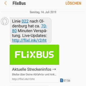 Screenshot der ersten Verspätungs SMS von Flixbus