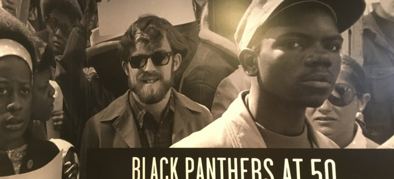 Photo at the entrance of the Black Panthers at 50 exhibit at the Oakland Museum of California